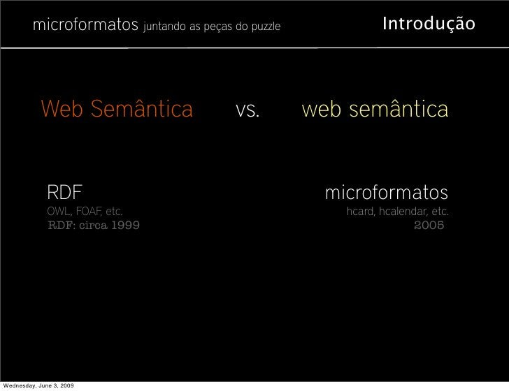 microformatos juntando as peças do puzzle              Introdução                Web Semântica                 vs.        ...