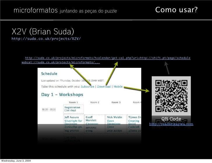microformatos juntando as peças do puzzle                                         Como usar?          X2V (Brian Suda)    ...