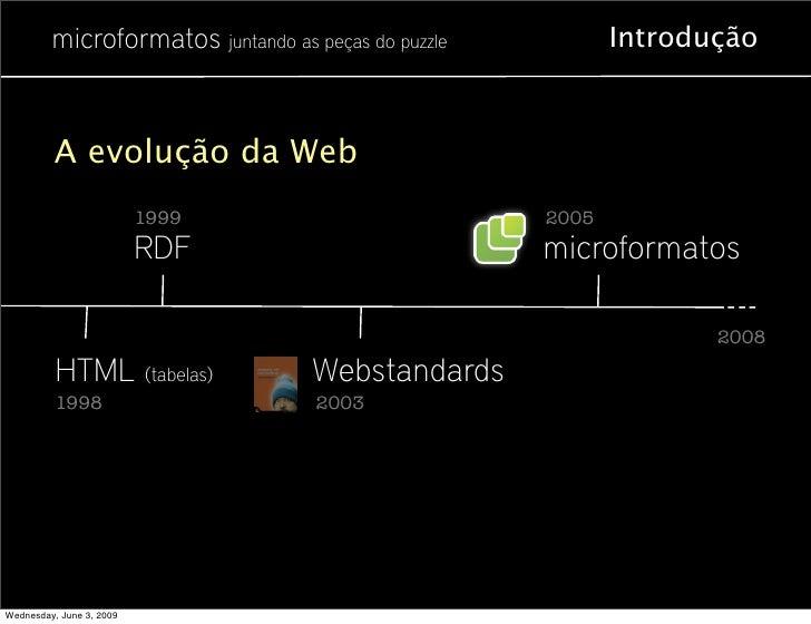 microformatos juntando as peças do puzzle          Introdução              A evolução da Web                           199...