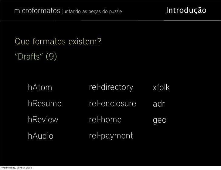 """microformatos juntando as peças do puzzle         Introdução              Que formatos existem?          """"Drafts"""" (9)     ..."""