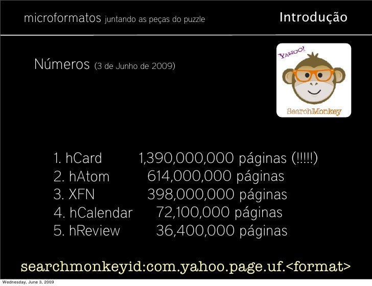 microformatos juntando as peças do puzzle       Introdução                 Números (3 de Junho de 2009)                   ...