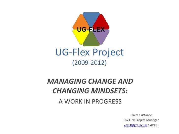 UG-Flex Project     (2009-2012)MANAGING CHANGE AND CHANGING MINDSETS:  A WORK IN PROGRESS                           Claire...