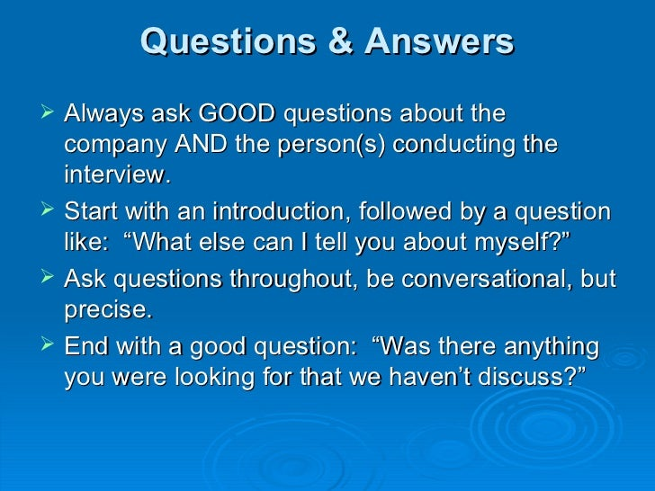 good questions to ask an interview
