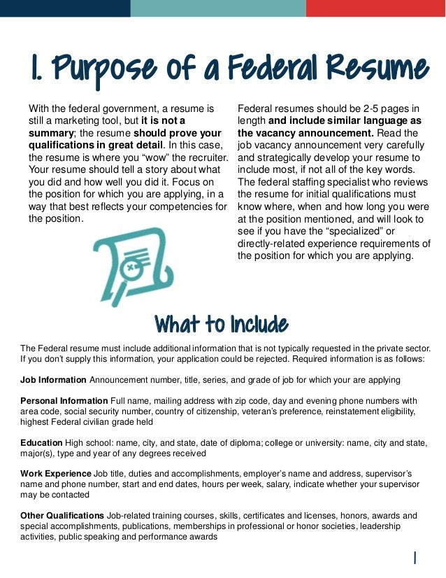 Page 15 Contents 2 2; 3. 1. Purpose Of A Federal Resume ...