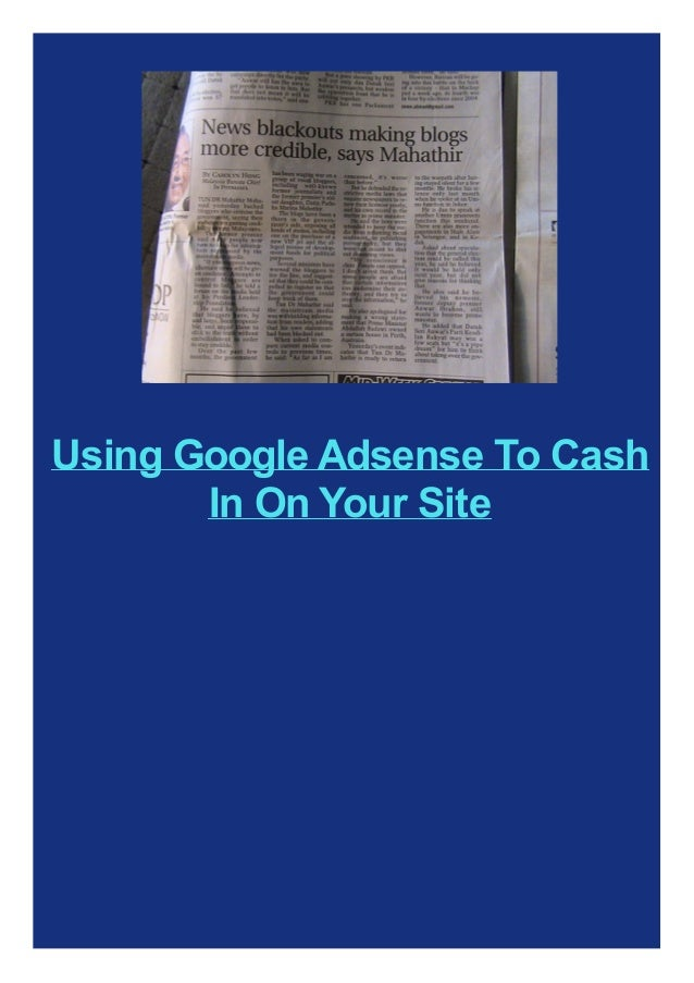 Using Google Adsense To Cash In On Your Site