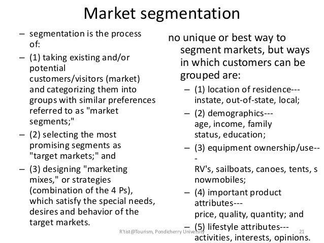 Travel market segmentation