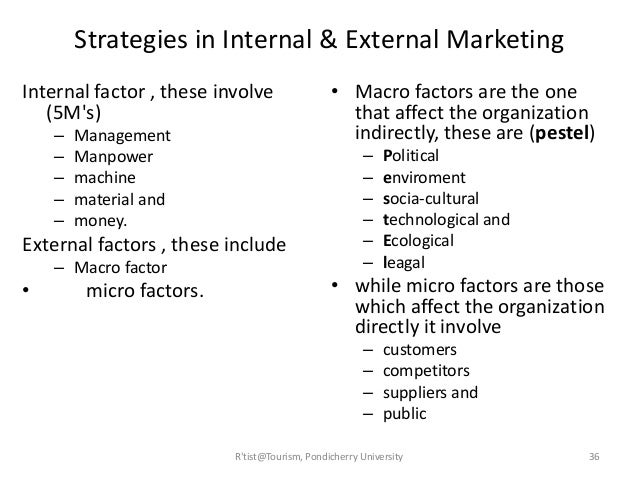 List internal and external environmental factors