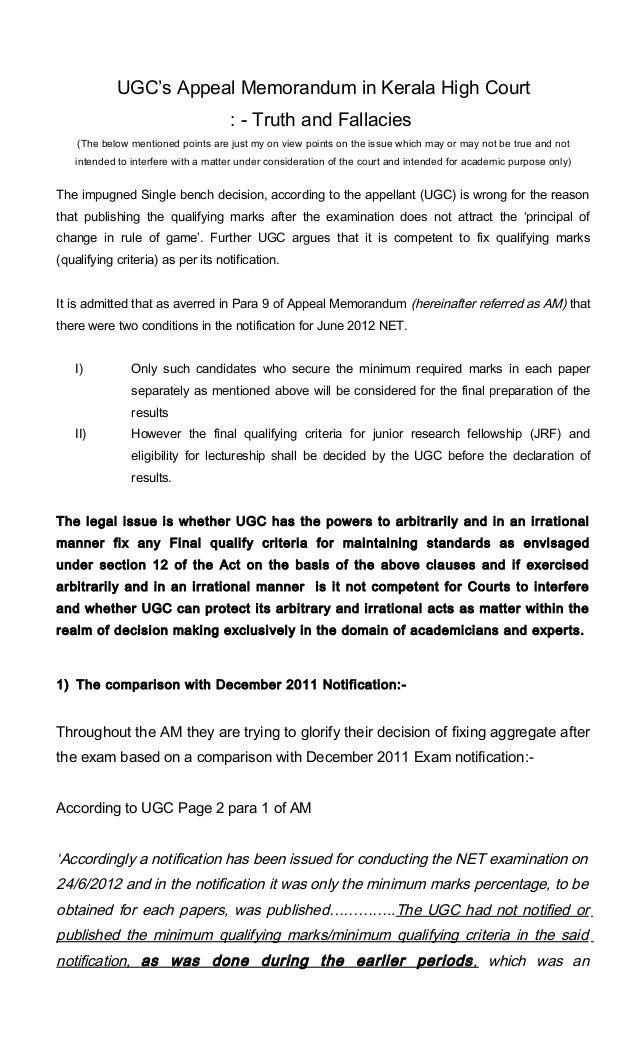 UGC's Appeal Memorandum in Kerala High Court                                    : - Truth and Fallacies    (The below ment...