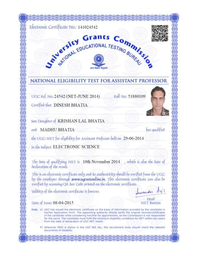 UGC-NET e-certificate Dinesh Bhatia