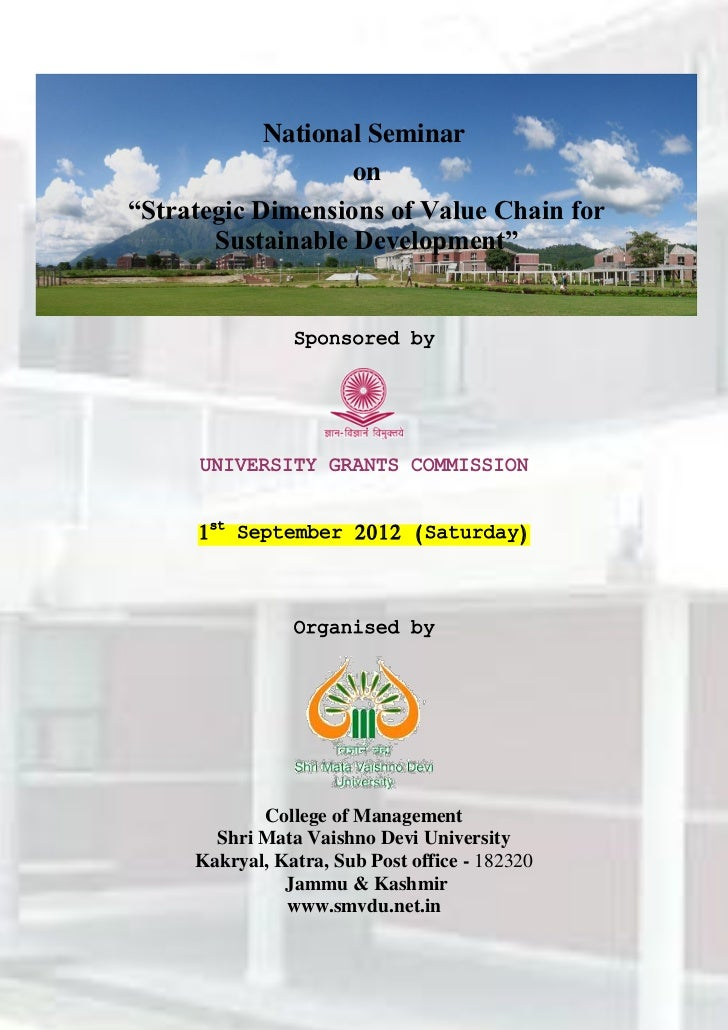 """National Seminar                   on""""Strategic Dimensions of Value Chain for       Sustainable Development""""              ..."""