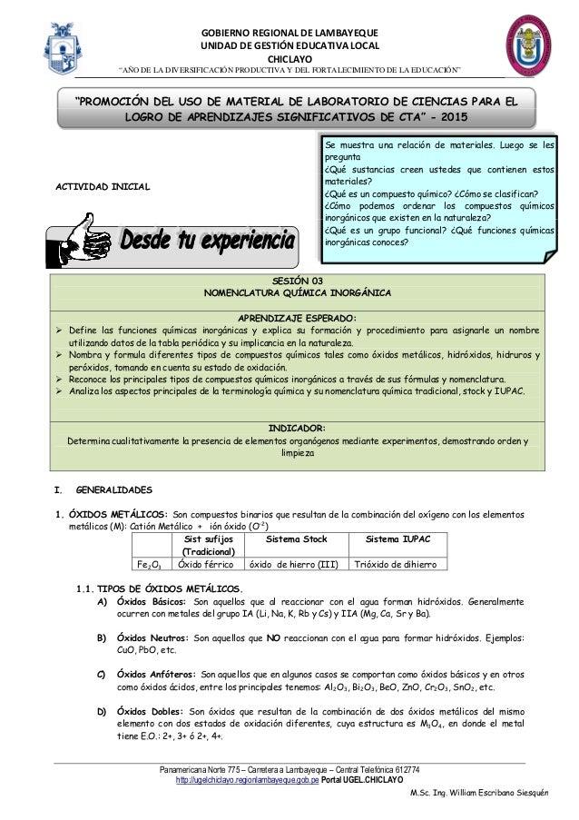 UGEL - NOMENCLATURA QUÍMICA Slide 2