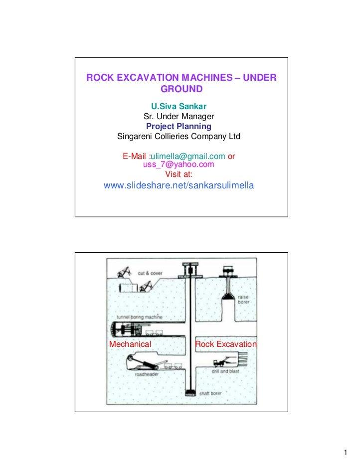 ROCK EXCAVATION MACHINES – UNDER            GROUND              U.Siva Sankar            Sr. Under Manager            Proj...