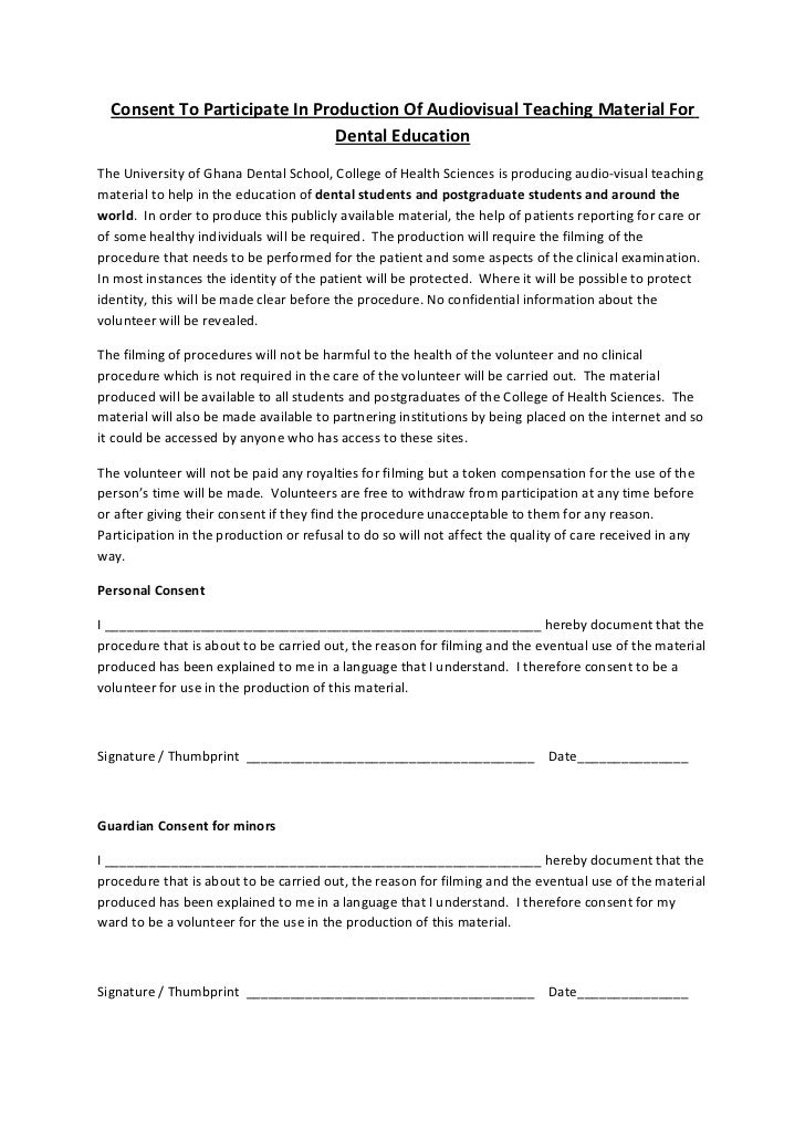 Dental Consent Form Sample Dental Release Form Examples In Word Pdf