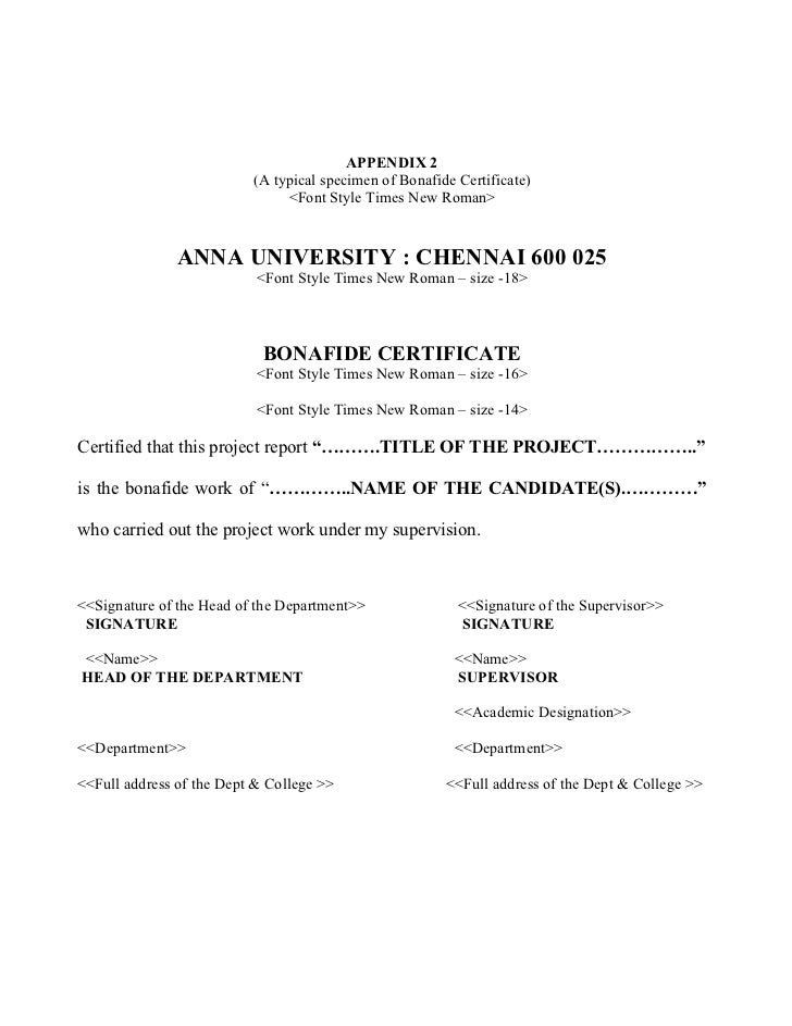 Anna University Ug Project Report Format