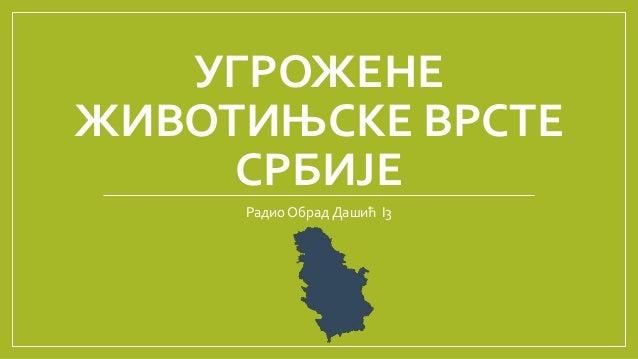 УГРОЖЕНЕ ЖИВОТИЊСКЕ ВРСТЕ СРБИЈЕ Радио Обрад Дашић I3