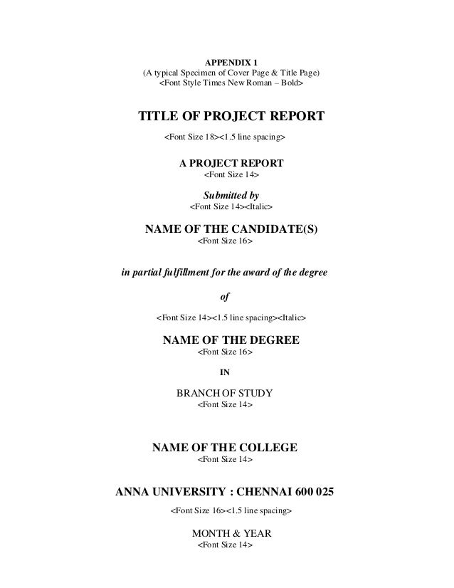 title page for report
