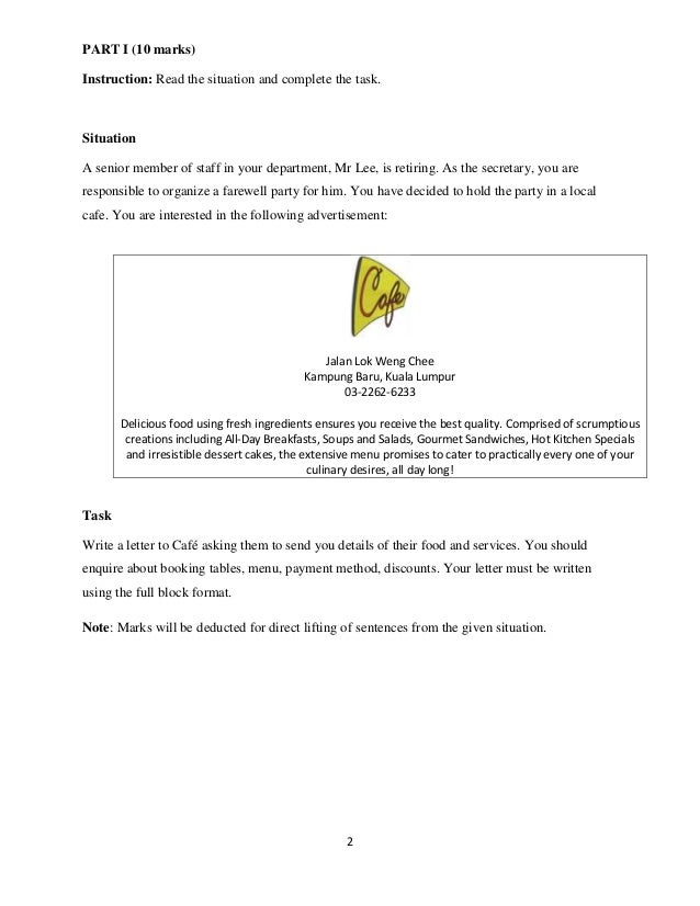 PART I (10 marks) Instruction: Read the situation and complete the task.  Situation A senior member of staff in your depar...