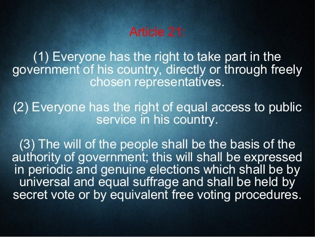 The Universal Declaration of Human Rights - Articles 21 to 30