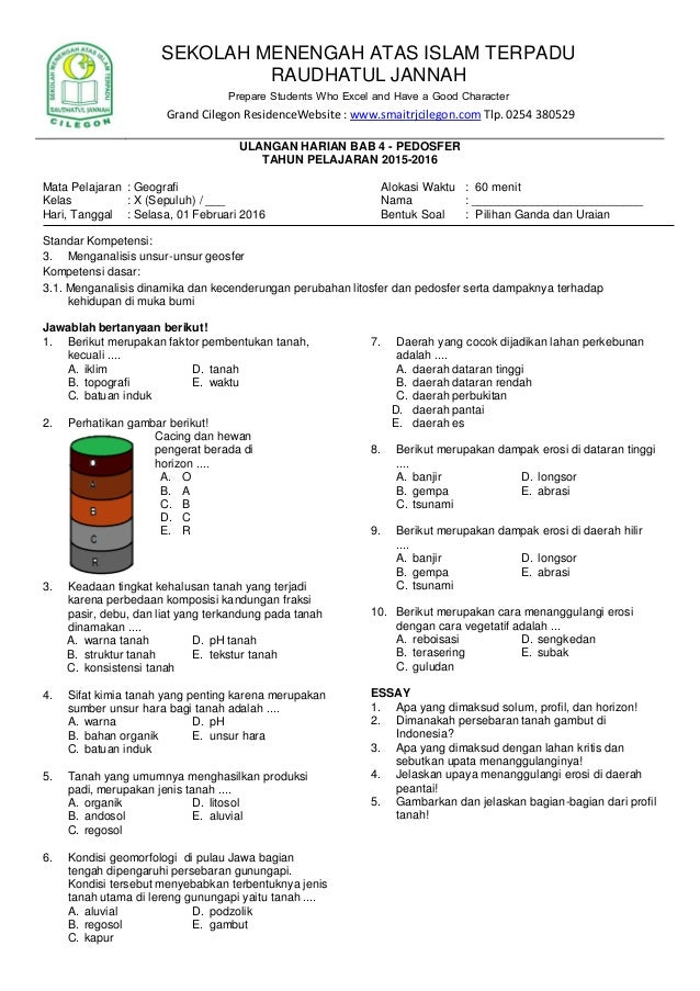Uji Kompetensi Bab 5 Geografi Kelas 10 Ilmusosial Id