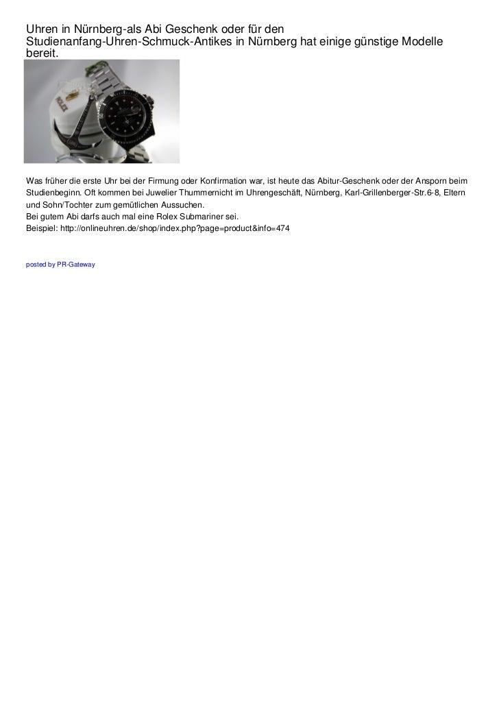 Uhren In Nürnberg Als Abi Geschenk Oder Für Den