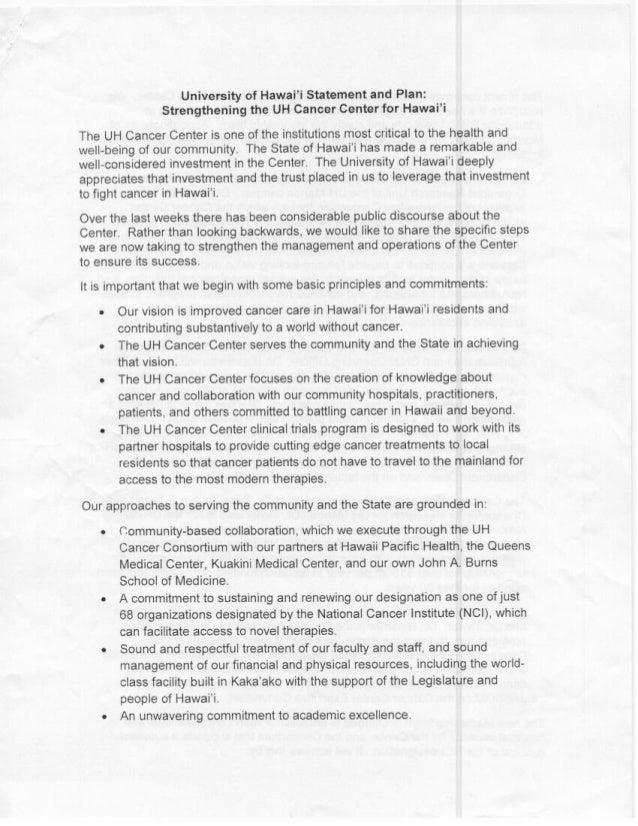 UH Cancer Center Plan