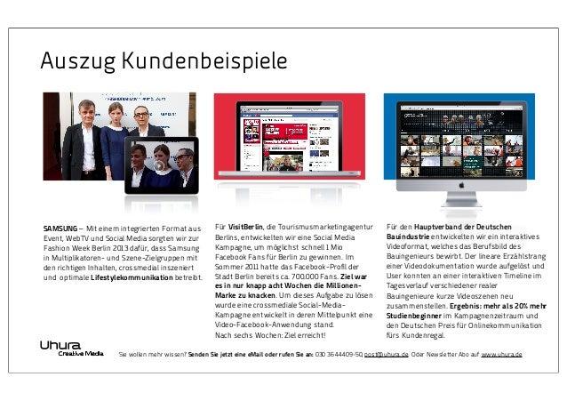 Auszug Kundenbeispiele  SAMSUNG –Mit einem integrierten Format aus Event, WebTV und Social Media sorgten wir zur Fashion ...
