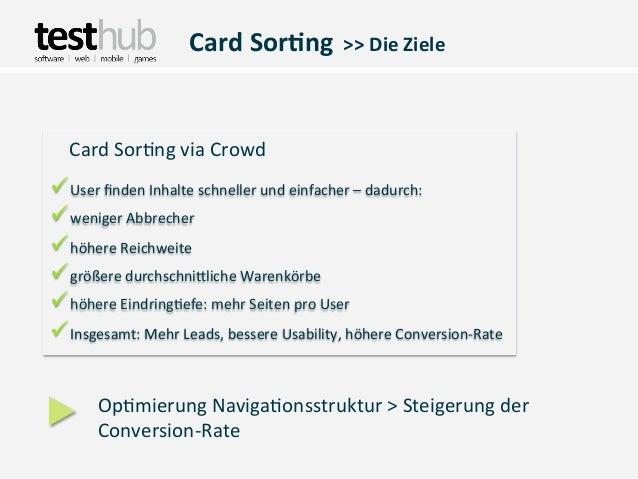 Card Sor(ng  >> Die Ziele   Card Sor,ng via CrowdüUser finden Inhalte schneller und einfacher ...