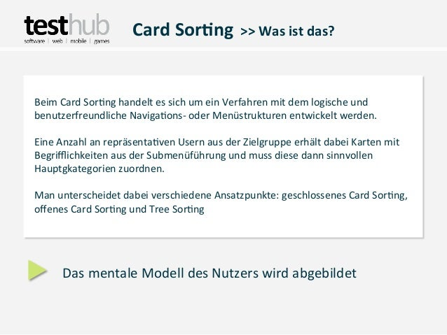 Card Sor(ng  >> Was ist das? Beim Card Sor,ng handelt es sich um ein Verfahren mit dem ...
