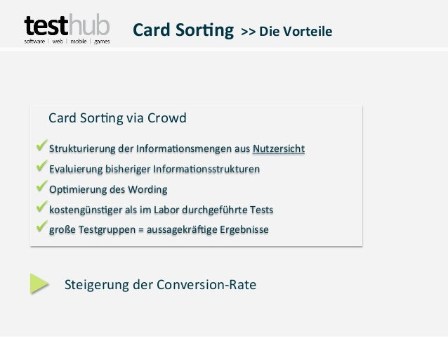 Card Sor(ng  >> Die Vorteile   Card Sor,ng via CrowdüStrukturierung der Informa,onsmengen aus Nu...