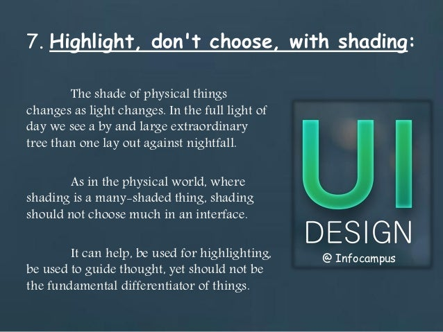 ui design principles to be used during ui design rh slideshare net Fashlight Guide Fiber Light Guide