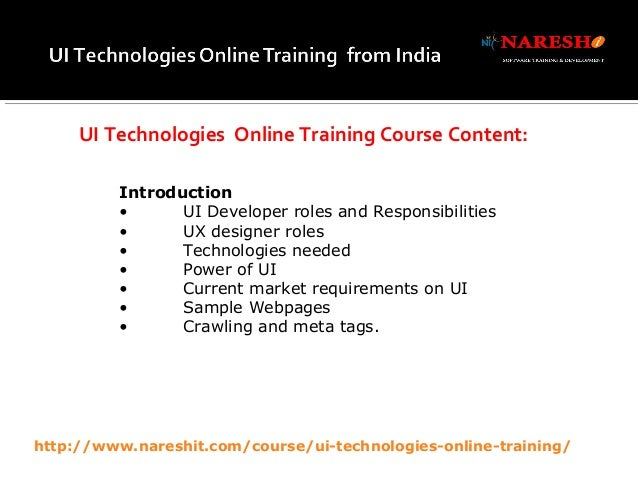 UI Technologies Online Training in Hyderabad - by Real-Time Experts