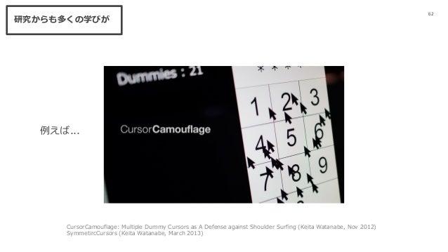 62 研究からも多くの学びが CursorCamouflage: Multiple Dummy Cursors as A Defense against Shoulder Surfing (Keita Watanabe, Nov 2012) S...
