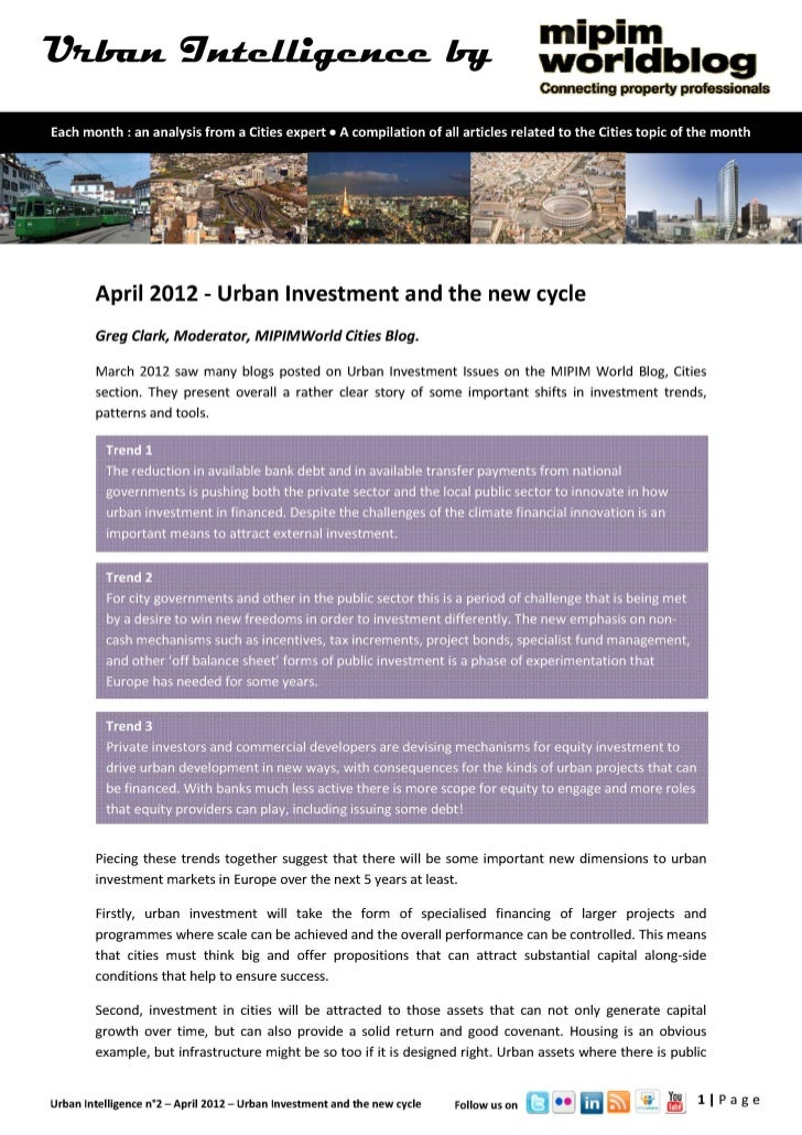 Urban Intelligence - April 2012 - Urban investment and the new cycle