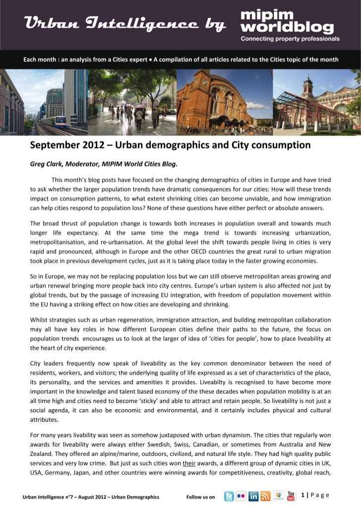 Urban Intelligence - September 2012 - Urban Demographics and City Consumption