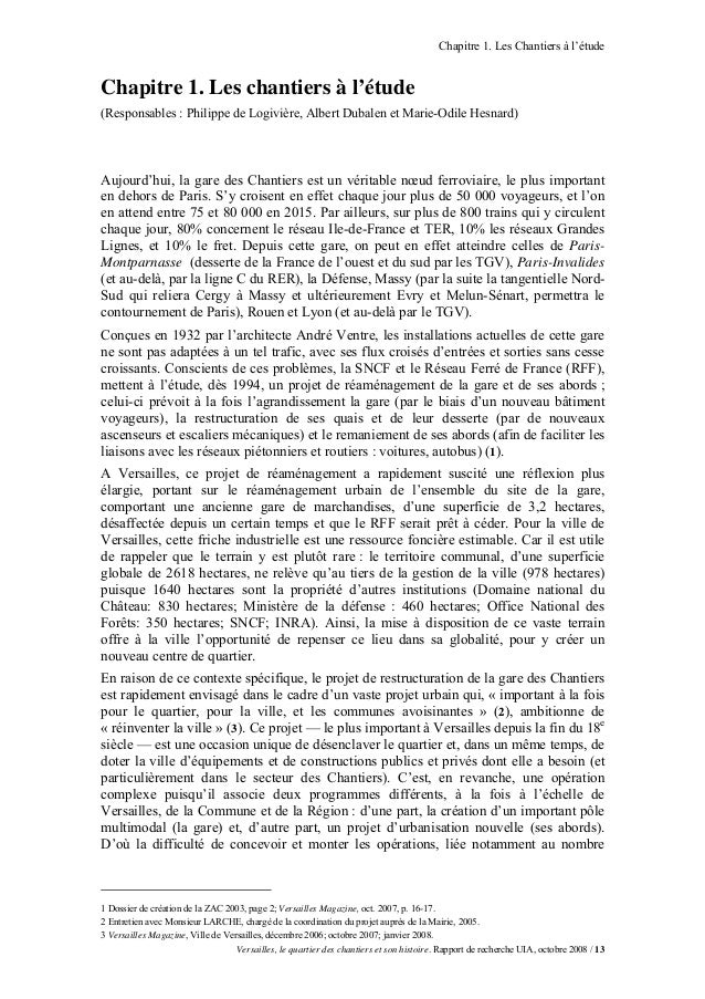 Chapitre 1. Les Chantiers à l'étudeChapitre 1. Les chantiers à l'étude(Responsables : Philippe de Logivière, Albert Dubale...