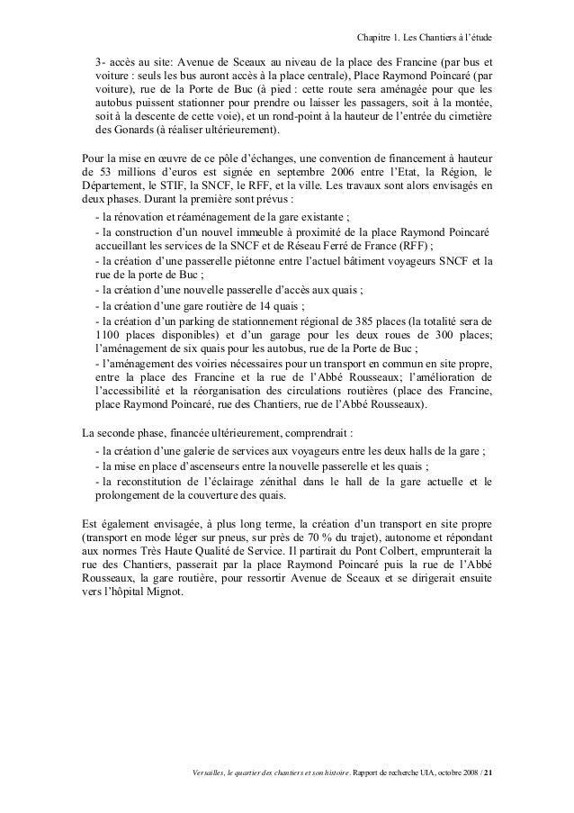 Chapitre 1. Les Chantiers à l'étude  3- accès au site: Avenue de Sceaux au niveau de la place des Francine (par bus et  vo...