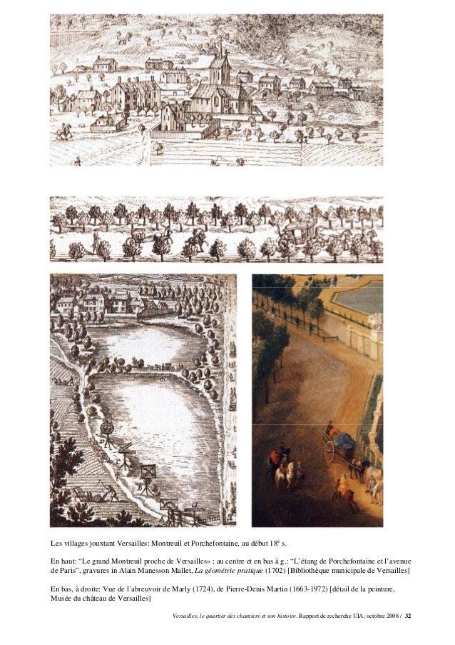 """Les villages jouxtant Versailles: Montreuil et Porchefontaine, au début 18e s.En haut: """"Le grand Montreuil proche de Versa..."""
