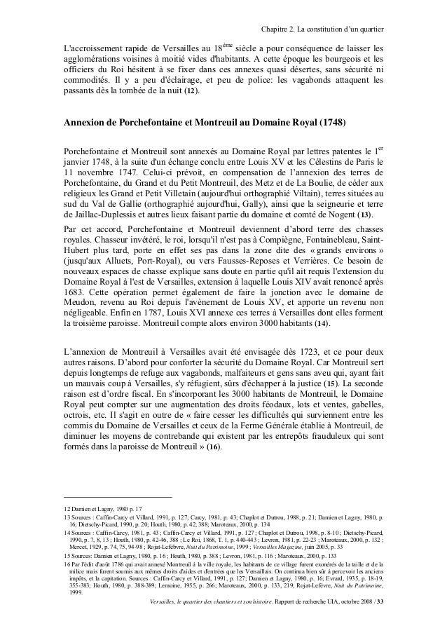 Chapitre 2. La constitution d'un quartierLaccroissement rapide de Versailles au 18ème siècle a pour conséquence de laisser...