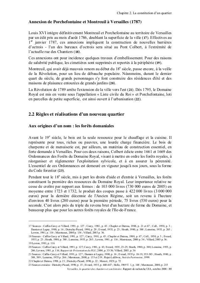 Chapitre 2. La constitution d'un quartierAnnexion de Porchefontaine et Montreuil à Versailles (1787)Louis XVI intègre défi...