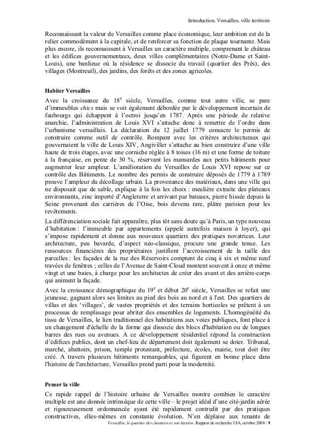 Introduction. Versailles, ville territoireReconnaissant la valeur de Versailles comme place économique, leur ambition est ...