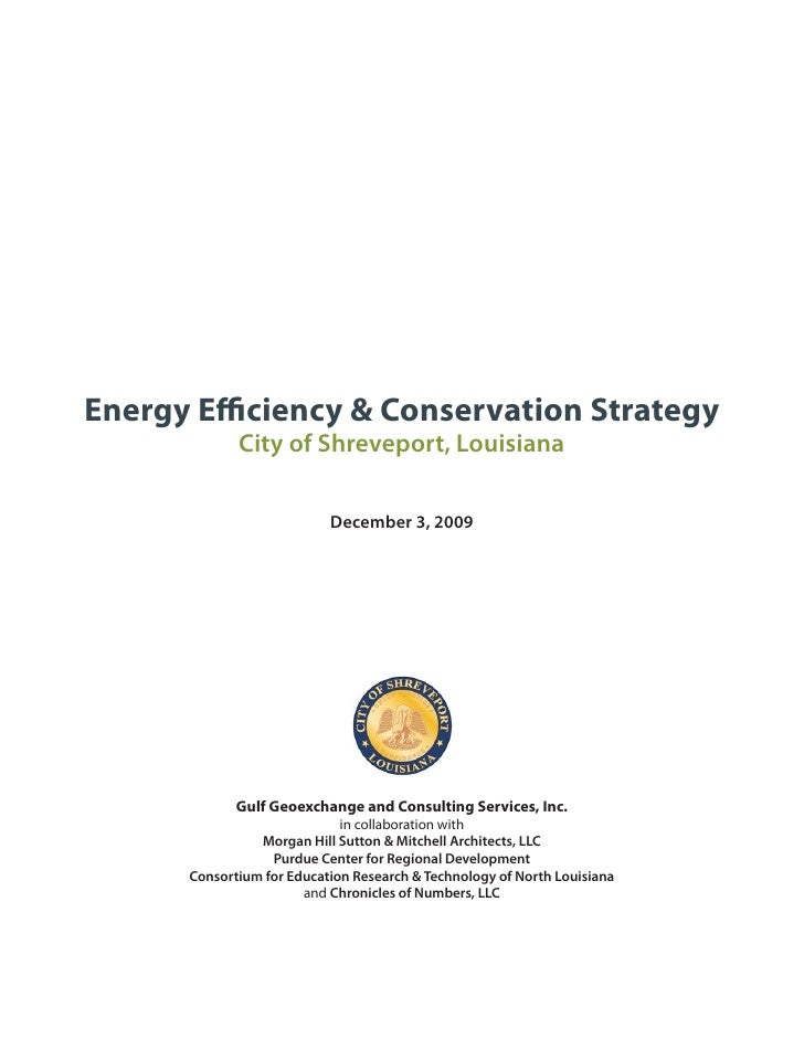 Energy Efficiency & Conservation Strategy              City of Shreveport, Louisiana                             December ...
