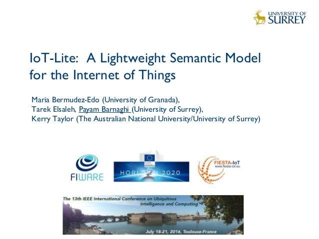 IoT-Lite: A Lightweight Semantic Model for the Internet of Things 1 Maria Bermudez-Edo (University of Granada), Tarek Elsa...