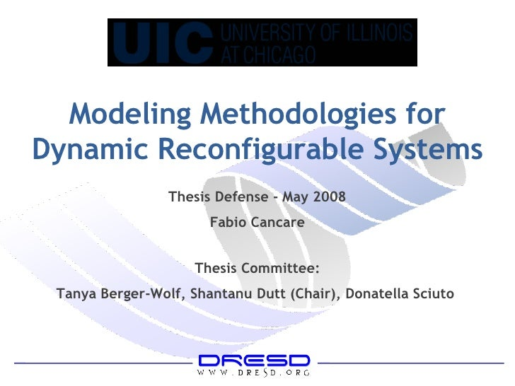 Modeling Methodologies for Dynamic Reconfigurable Systems Thesis Defense - May 2008 Fabio Cancare Thesis Committee: Tanya ...