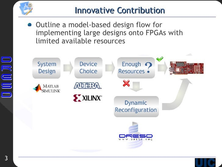 Innovative Contribution <ul><li>Outline a model-based design flow for implementing large designs onto FPGAs with limited a...