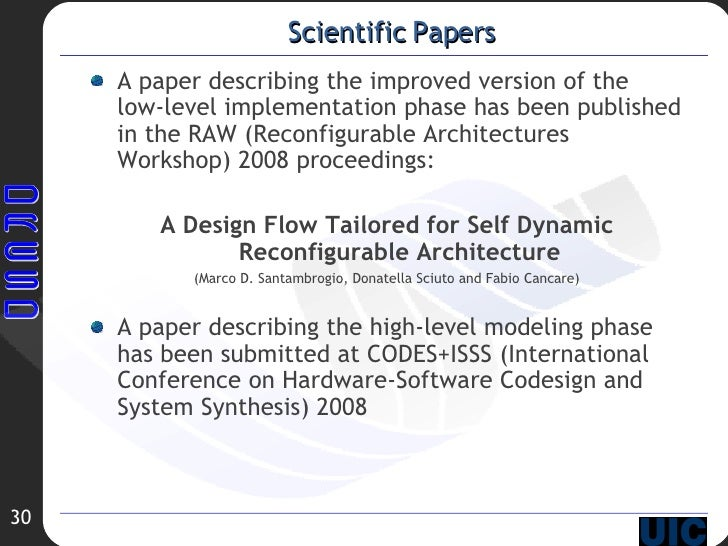 Scientific Papers <ul><li>A paper describing the improved version of the low-level implementation phase has been published...