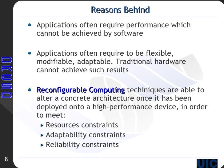 Reasons Behind <ul><li>Applications often require performance which cannot be achieved by software </li></ul><ul><li>Appli...