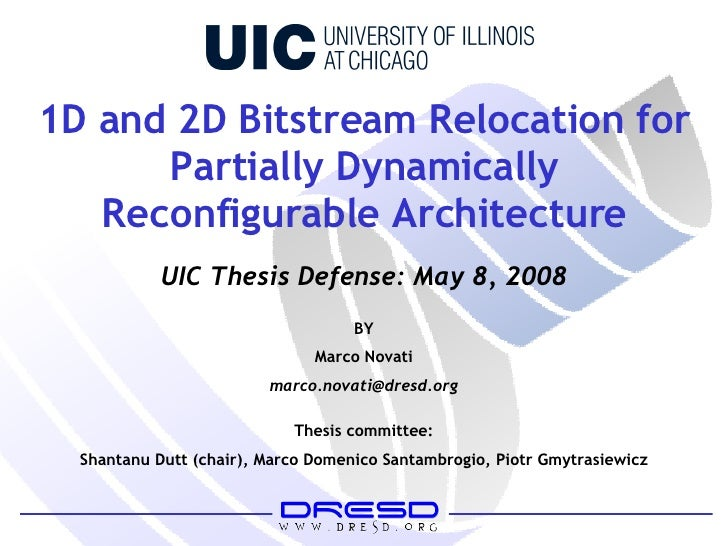1D and 2D Bitstream Relocation for Partially Dynamically Reconfigurable Architecture BY Marco Novati [email_address] Thesi...