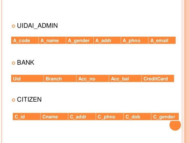    UIDAI_ADMINA_code     A_name       A_gender    A_addr   A_phno     A_email   BANKUid            Branch      Acc_no   ...
