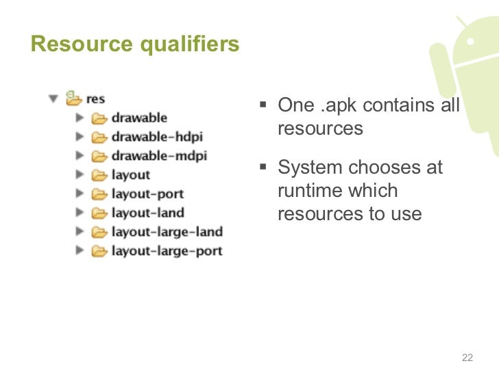 Resource qualifiers                          One .apk contains all                          resources                    ...