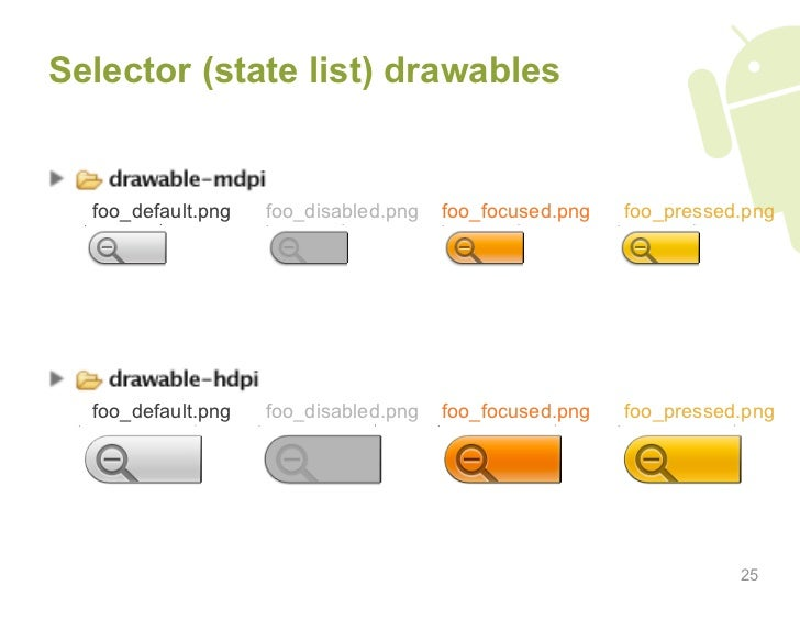 Selector (state list) drawables     foo_default.png   foo_disabled.png   foo_focused.png   foo_pressed.png       foo_defau...